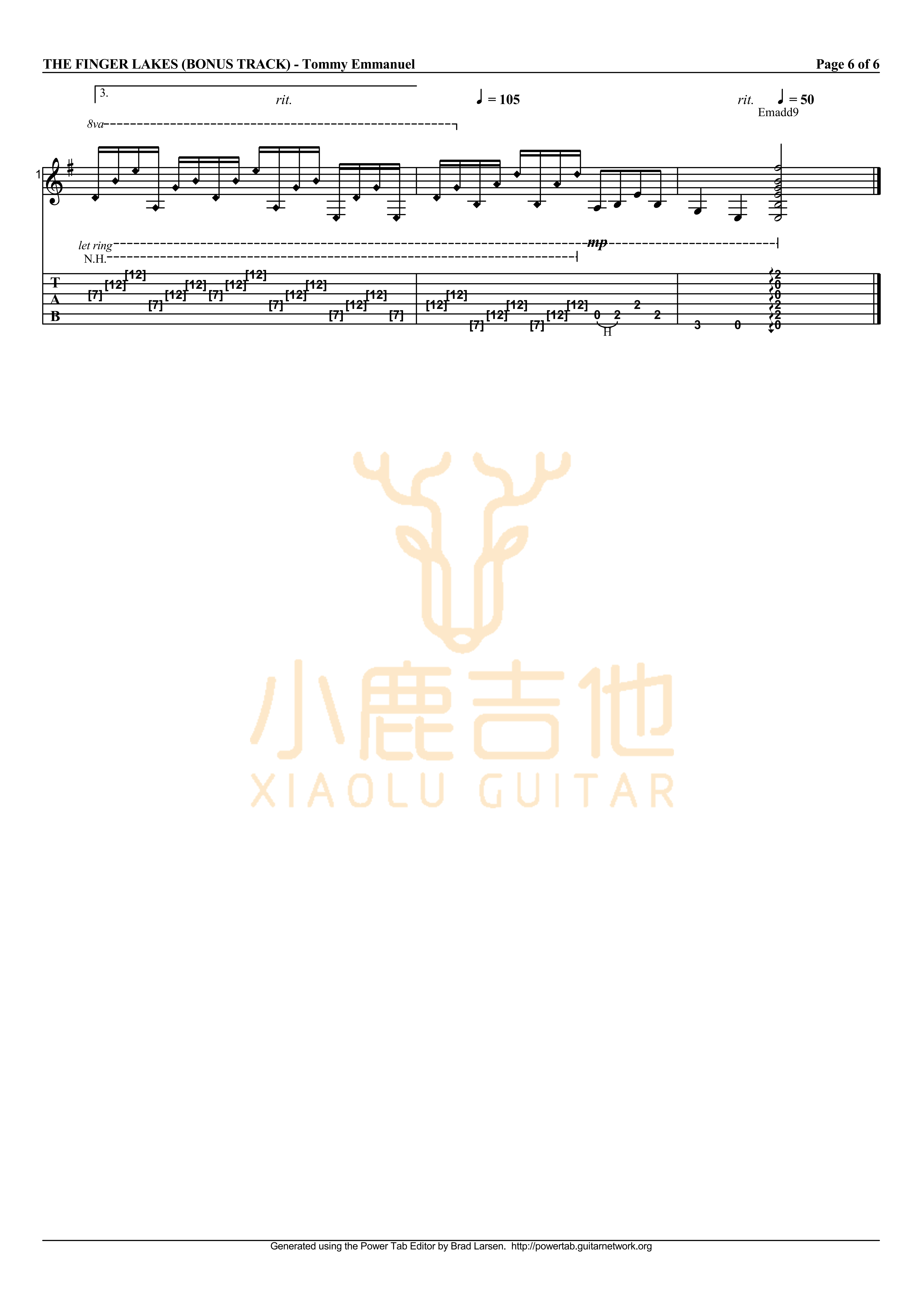 The Finger Lakes-Tommy Emmanuel指弹吉他谱(小鹿吉他)插图(6)